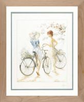 Girls on Bicycle Cross Stitch Kit by Lanarte