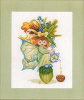 Acorn Girl Cross Stitch Kit by Lanarte