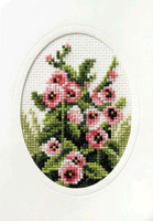 Hollyhocks Cross Stitch Card Kit by Orchidea