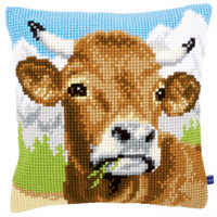 Cow Chunky Cross stitch Cushion Kit by Vervaco