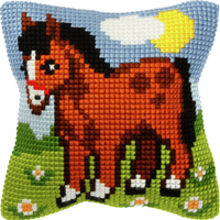 Horse Small Chunky Cross Stitch Cushion Kit By Orchidea