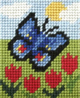 My First Embroidery Needlepoint Kit Butterfly and Tulips By Orchidea