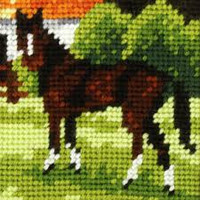 My First Embroidery Needlepoint Kit Brown horse By Orchidea