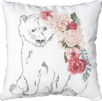 Bear and Roses Cross Stitch Cushion Kit by Luca-S