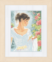 Counted Cross Stitch Kit: Red Flowers (Linen) By Lanarte