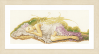 Counted Cross Stitch Kit: Sleeping Angel (Linen) By Lanarte