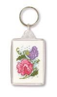 Sweet Peas Keyring Cross Stitch Kit by Textile Heritage