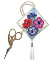 Anemones Scissor Keep Cross Stitch Kit by Textile Heritage