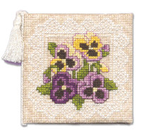 Victorian Pansies Needle Case Cross Stitch Kit by Textile Heritage