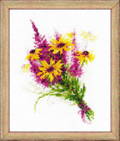 Bouquet with Coneflowers Cross Stitch Kit by Riolis