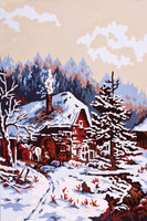 Winter Cabin Canvas only By Grafitec