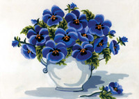 Blue Pansies Canvas only By Grafitec