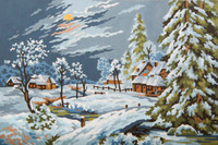 Moonlight Snow Scene Canvas only By Grafitec