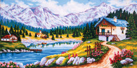 Mountain Chalet in Spring Canvas only By Grafitec