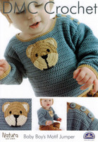 Baby Boy's Motif Jumper Crochet Pattern Leaflet  By DMC