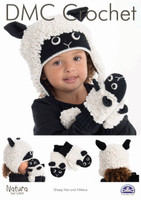 Sheep Hat & Matching Mittens Crochet Pattern Leaflet  By DMC