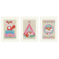 Lief! Little Fox on Travel (Set of 3) Counted Cross Stitch Cards By Vervaco