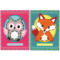 Owl and Fox Cards (Set of 2) Embroidery Kit By Vervaco