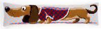 Printed Cross Stitch Draught Excluder: Dachshund In Jacket Kit By Vervaco