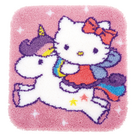 Hello Kitty and Unicorn Latch Hook Kit: Rug: By Vervaco