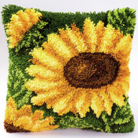 Sunflowers on Leaves Latch Hook Kit By Vervaco