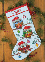 counted cross stitch stocking holiday hooties by dimensions