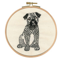 Doug the Pug Printed Embroidery Kit with Hoop By DMC
