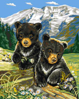 Bear Cubs in Spring Tapestry Canvas By Grafitec