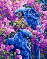 Blue Parrots Tapestry Canvas By Grafitec