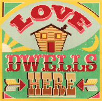 Love Dwells Here Tapestry Cushion Kit Front By DMC