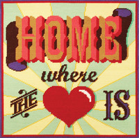 """Home is where the Heart is"" Tapestry Cushion Kit Front By DMC"