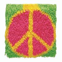 WonderArt Shaggy Kit: Peace Sign Latch Hook Rug Kit