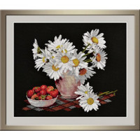 Chamomiles on Black Cross stitch kit by Oven