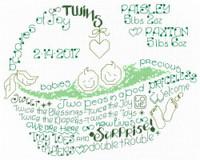 Lets Love Twins Cross Stitch Chart