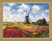 Tulip Fields (Monet) Cross Stitch Kit By Riolis