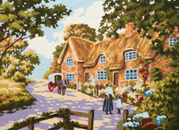 Spring Cottage Tapestry Canvas By Grafitec