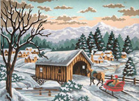 Winter Sleigh Tapestry Canvas By Grafitec