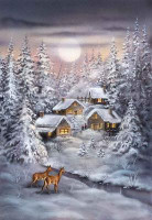 Winter village Canvas By Grafitec