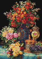 Classic Flowers No Count Cross Stitch Kit By Riolis