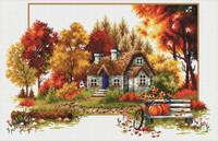 Autumn Cottage No Count Cross Stitch Kit By Riolis