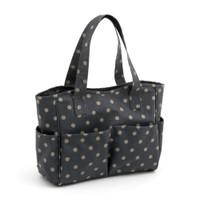 Matt PVC - Charcoal Polka Dot  Craft Bag By Hobby Gift