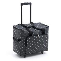Matt PVC - Charcoal Polka Dot  Sewing Machine Trolley Bag By Hobby Gift
