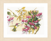 Colibri and Flowers Cross Stitch Kit by Lanarte
