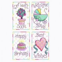Set of 4 Cross Stitch Greetings Cards Kit By Cinnamon Cat