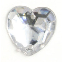 Acrylic Jewels: Sew-On: Heart: Clear: 100pk