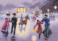 Christmas Skaters Cross Stitch Kit Bu Heritage Crafts