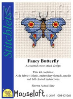 Fancy Butterfly Cross Stitch Kit by Mouse Loft