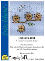 Individu-Owl Cross Stitch Kit by Mouse Loft