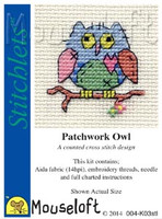 Patchwork Owl Cross Stitch Kit by Mouse Loft