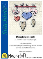 Dangling Hearts Cross Stitch Kit by Mouse Loft